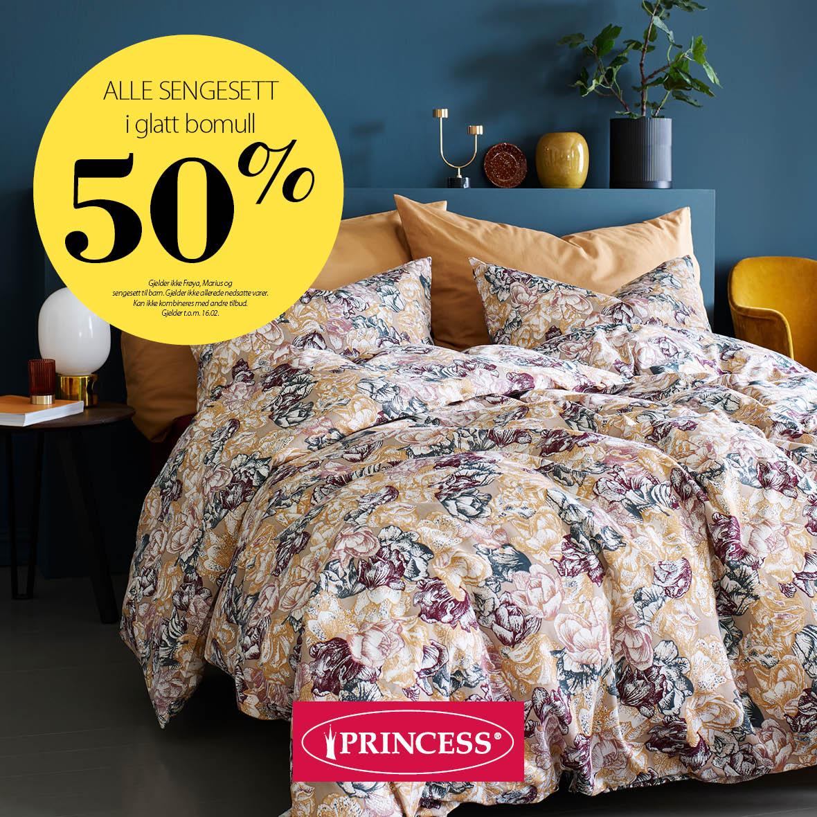 -50% på sengesett i glatt bomull